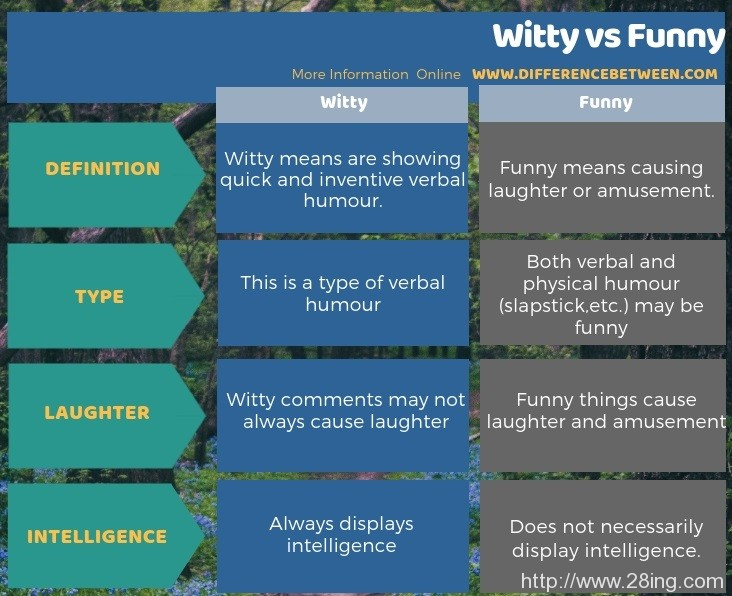 Difference Between Witty and Funny l Witty vs Funny